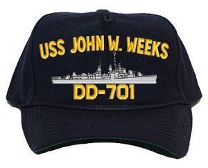 USS John W. Weeks DD-701 Navy Ship Hats