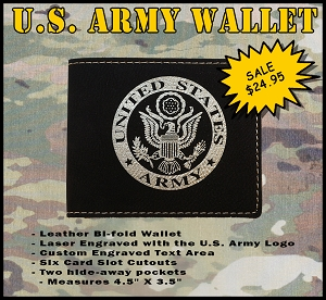 U.S. Army Leather Wallet - Custom Engraved