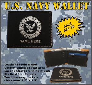 U.S. Navy Leather Wallet - Custom Engraved