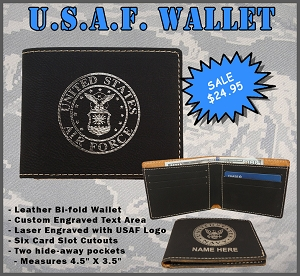 U.S. Air Force Leather Wallet - Custom Engraved