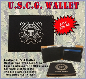 U.S. Coast Guard Leather Wallet - Custom Engraved