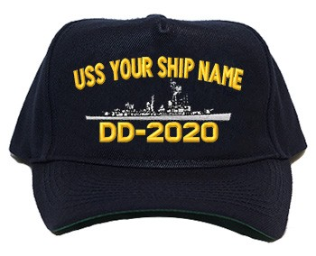 Regulation Style Cap - Each Cap Embroidered with your Ship Name, Hull Number and Accurate Silhouette