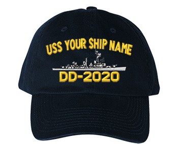 Old Salt Style Cap - Each Cap Embroidered with your Ship Name, Hull Number and Accurate Silhouette