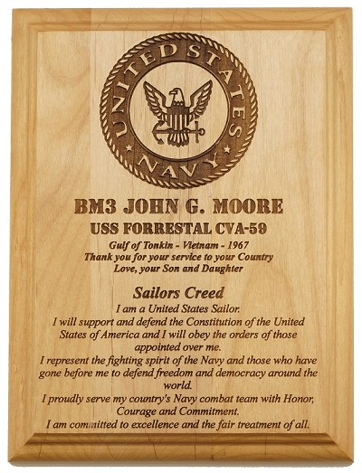 U.S. Navy Sailor Service Plaque
