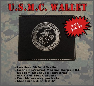 U.S. Marine Corps Leather Wallet - Custom Engraved